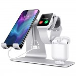 Aluminiowy Stojak Ładowarka Stand do Apple Watch iPhone Airpods  srebrny