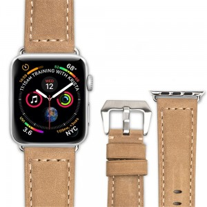 Skórzany Pasek QIALINO do Apple Watch 42mm / 44mm khaki