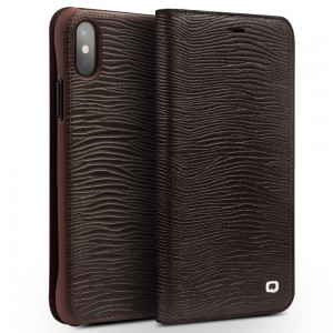 Etui Smart Cover QIALINO iPhone X brązowe